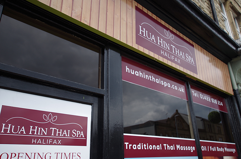 Hua Hin Thai Spa Shop Front on King Cross Road in Halifax, West Yorkshire.